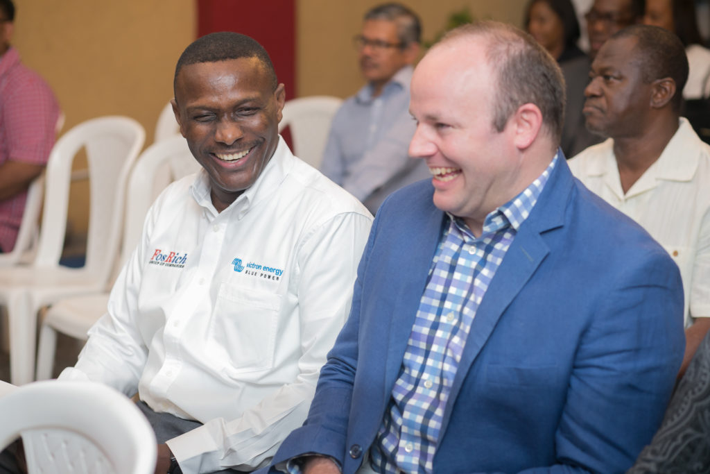 Cecil Foster and Mark Croskery share a laugh during the recent launch of FosRich's Industrial Electrical Division